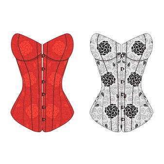 Set di pizzo vintage corsetto. biancheria intima di moda femminile.