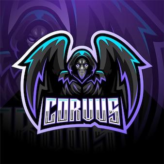 Modello di logo della mascotte di corvus esport