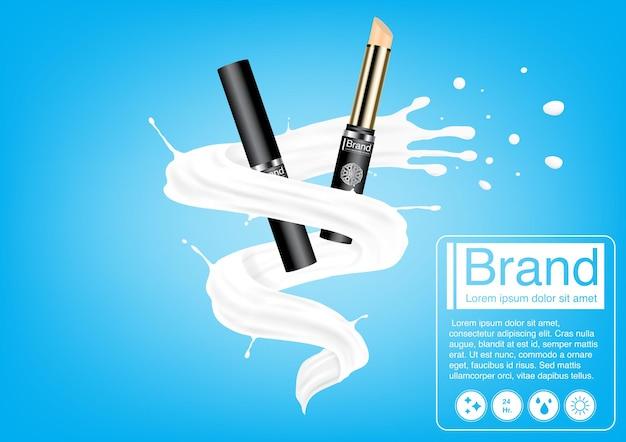 Concetto di annuncio cosmetico. mockup di correttore di lusso sulla spruzzata di latte. modello di progettazione pubblicitaria