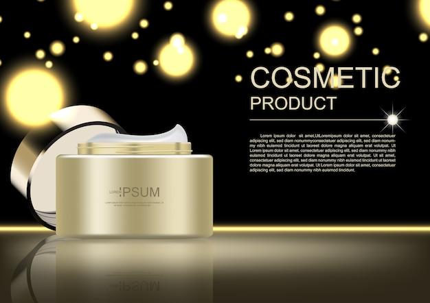 Modello di annunci cosmetici, crema dorata e luce scintillante su sfondo scuro