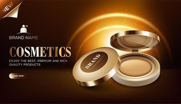 Modello di annunci cosmetici di mini scatola di fondazione