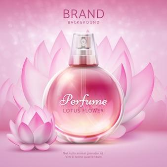 Sfondo cosmetico con loto. fiori di giglio rosa con flacone spray cosmetico per la cura del prodotto. manifesto 3d di vettore dell'annuncio di progettazione di lotus