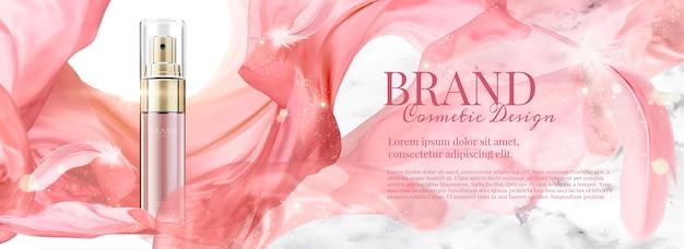Banner pubblicitari cosmetici con flacone spray e chiffon volante