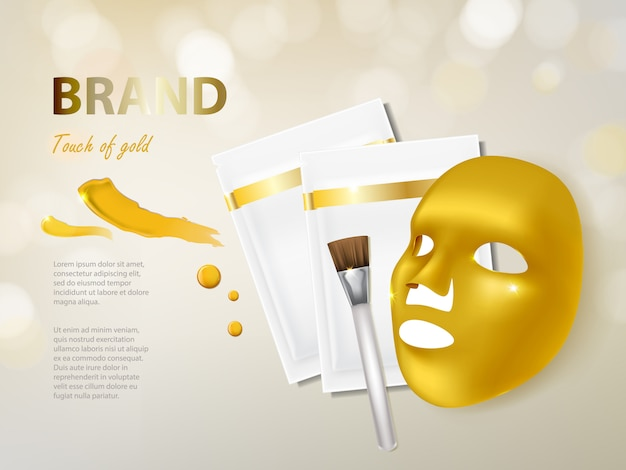 Bandiera cosmetica con maschera facciale dorata realistica 3d