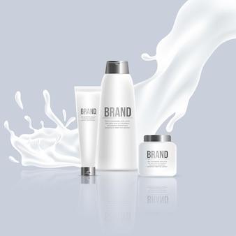 Prodotti di bellezza cosmetici vettore realistico poster design crema shampoo bottiglie