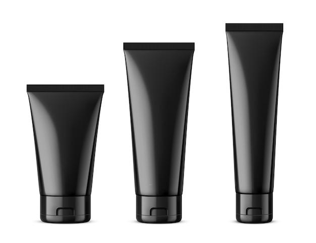Il mockup cosmetico di tubi neri ha impostato il design dell'imballaggio del prodotto in biancoillustrazione vettoriale realistica