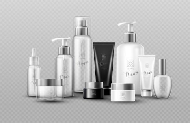 La bottiglia cosmetica deride sui pacchetti stabiliti su fondo grigio. effetto di trasparenza reale.