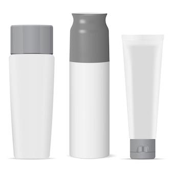 Pacchetto bottiglia cosmetica bianco