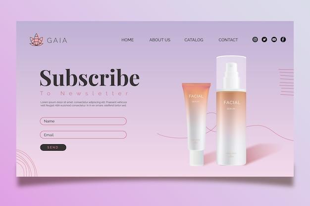 Modello di pagina web bottiglia cosmetica