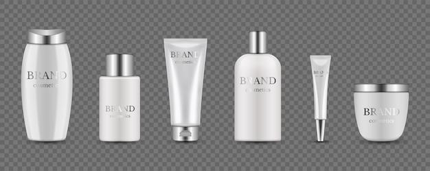 Flaconi per la cosmetica. confezione realistica bianco argento per siero, crema, shampoo, balsamo. cosmetico isolato su sfondo trasparente. lozione di bellezza dell'illustrazione, cosmetico della bottiglia del contenitore