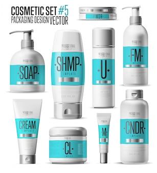 Modello di marchio cosmetico, set di bottiglie realistico,