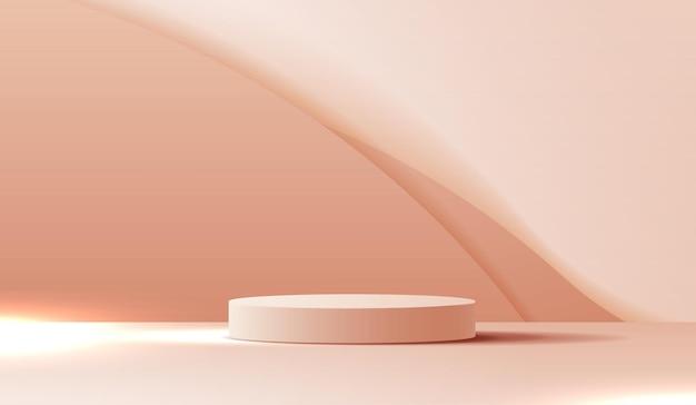 Cosmetico su sfondo marrone e display da podio premium per il marchio di presentazione del prodotto