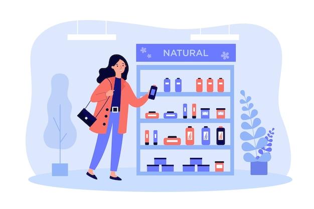 Acquirente cosmetico che sceglie la crema per la cura della pelle in design piatto