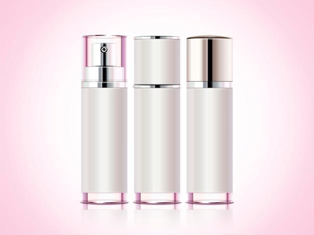 Prodotto contenitore cosmetico, tre flaconi spray
