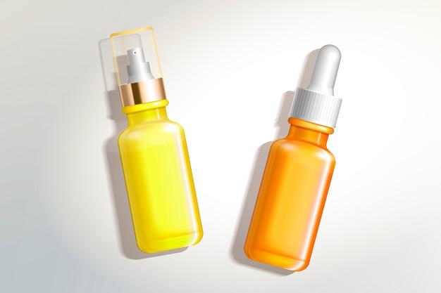 Contenitori cosmetici impostati nell'illustrazione 3d