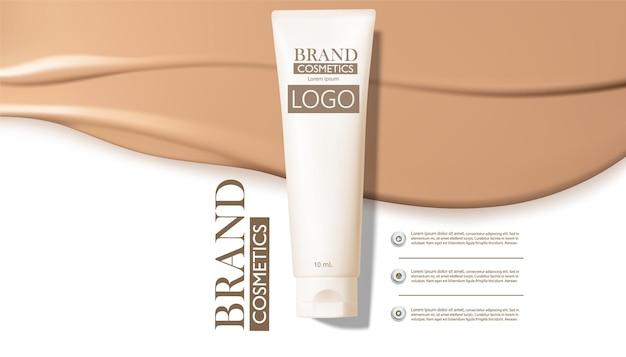 Crema cosmetica, mockup tubo cosmetico su sfondo crema beige
