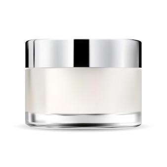 Vaso di vetro crema cosmetica mockup bottiglia crema viso mockup pacchetto trucco bellezza con coperchio in plastica