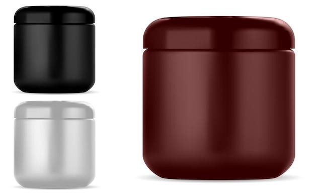 Barattolo di crema cosmetica mockup di contenitore di bellezza in plastica rotonda per crema o lozione, isolato su bianco confezione lucida per trucco, set di barattoli di crema per il viso