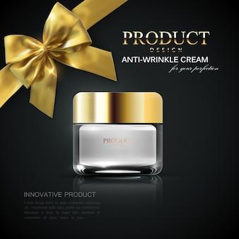 Pacchetto crema cosmetica con fiocco dorato su sfondo nero