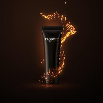 Design di packaging per crema cosmetica o gel doccia con scintillii di fuoco