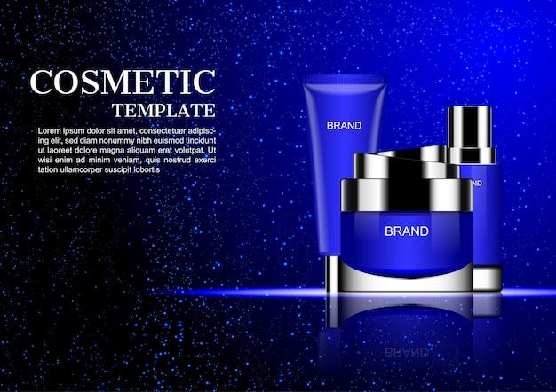 Crema cosmetica con polvere blu che cade su sfondo scuro
