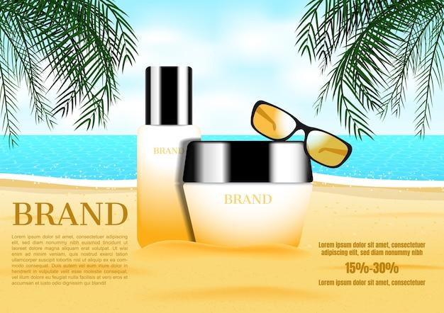 Crema cosmetica con sfumature e alberi di cocco