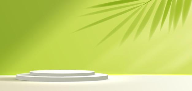 Sfondo verde cosmetico e display da podio premium per il marchio e l'imballaggio di presentazione del prodotto