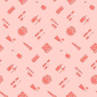 Modello senza cuciture icona cosmetica carta da parati rosa vettoriale