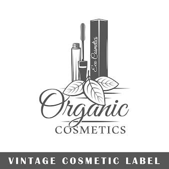 Etichetta cosmetica su bianco