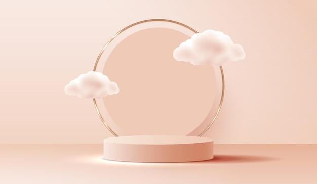 Sfondo marrone chiaro cosmetico e display da podio premium per il marchio e l'imballaggio di presentazione del prodotto. palco in studio con nuvola di sfondo. disegno vettoriale.