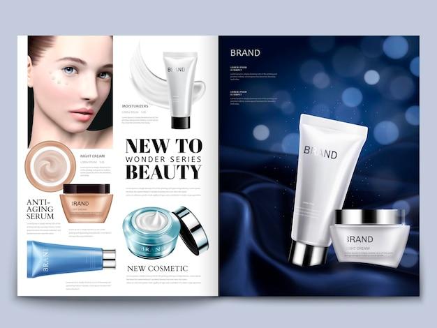 Design per riviste cosmetiche, modello attraente con set per la cura della pelle su raso setoso in illustrazione 3d, sfondo bokeh