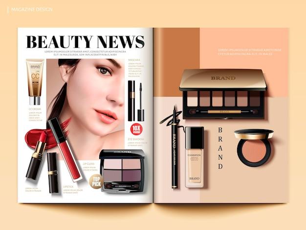 Modello di rivista cosmetica, informazioni sulla moda di bellezza con prodotti per il trucco in illustrazione 3d, vista dall'alto