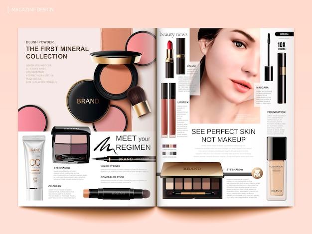 Modello di rivista cosmetica, fard per le guance, ombretti e rossetti in illustrazione 3d