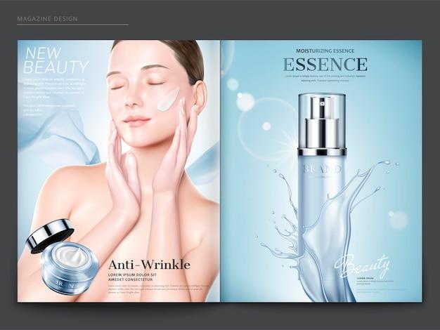Modello di rivista cosmetica, modello elegante con crema antirughe sul viso, flacone spray per essenza con schizzi di liquido in illustrazione 3d