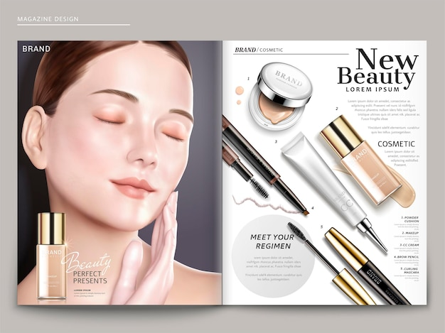 Modello di rivista cosmetica, modello elegante con prodotti per fondotinta, in illustrazione 3d