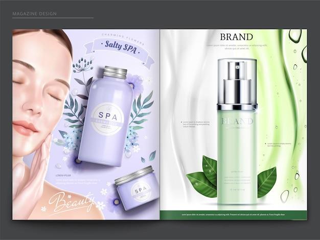 Modello di rivista cosmetica, modello elegante con prodotti spa e per la cura della pelle, in illustrazione 3dd