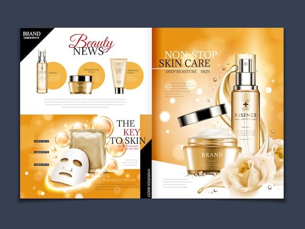 Modello di rivista cosmetica, elegante essenza di rosa con elementi liquidi floreali e fluenti isolati su sfondo bokeh in illustrazione 3d