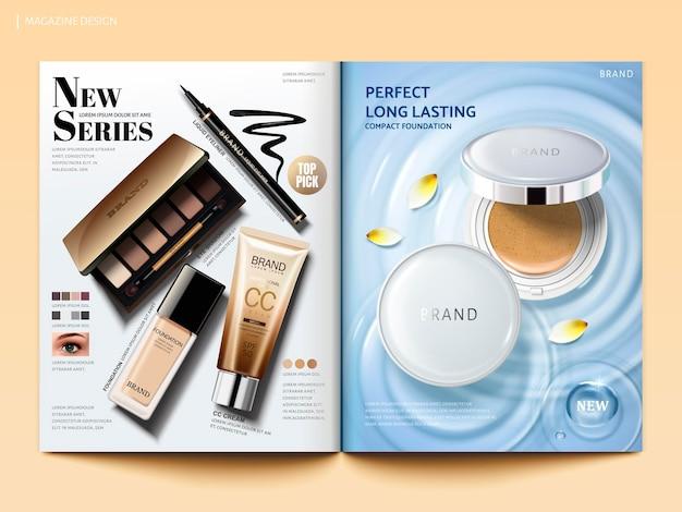 Modello di rivista cosmetica, prodotti di vendita caldi come polvere per cuscino e ombretto, crema cc e eyeliner in illustrazione 3d, vista dall'alto