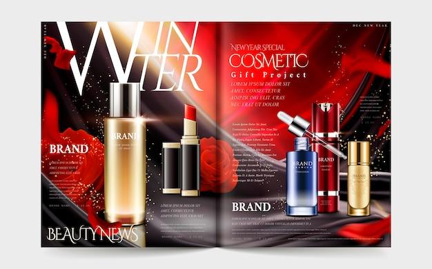 Illustrazione del modello di rivista cosmetica