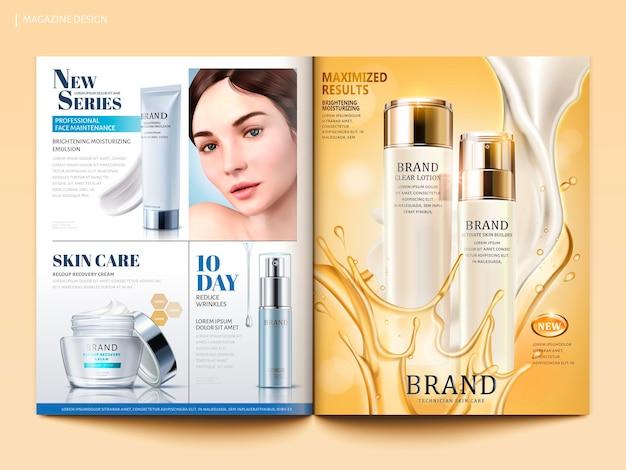 Modello di rivista cosmetica, lozione con crema fluida e olio in illustrazione 3d, catalogo prodotti per il design
