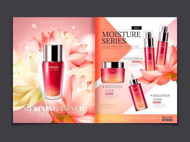 Modello di rivista cosmetica, prodotti della serie lotus con eleganti elementi floreali e luci glitterate in illustrazione 3d