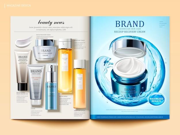 Modello di rivista cosmetica, prodotto crema idratante con sfera composta da acqua che scorre e vista dall'alto di prodotti per la cura della pelle in illustrazione 3d