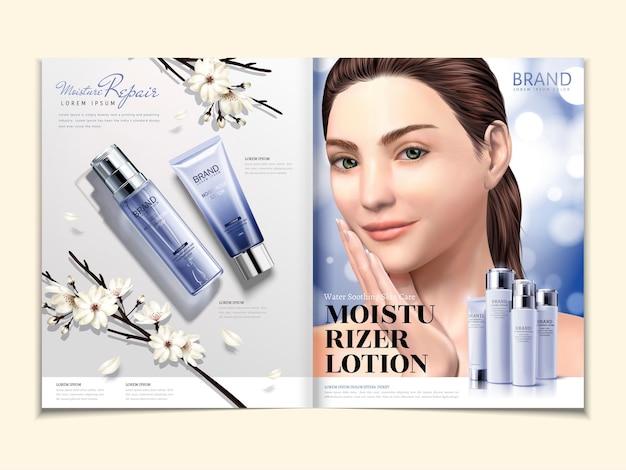 Modello di rivista cosmetica, set di prodotti idratanti con modello elegante in illustrazione 3d, fiori bianchi e sfondo glitterato