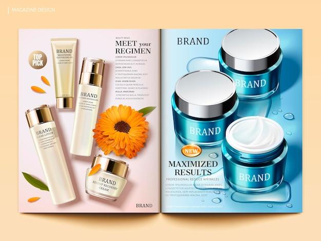 Modello di rivista cosmetica, prodotti idratanti per la cura della pelle con gocce d'acqua ed elementi di calendula in illustrazione 3d