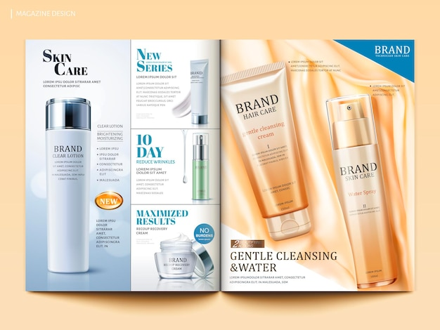 Modello di rivista cosmetica, prodotto per la cura della pelle e dei capelli su raso di seta in illustrazione 3d