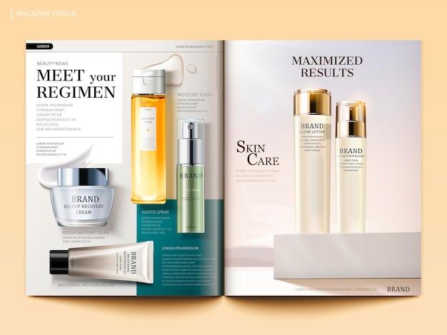 Modello di rivista cosmetica, prodotti per la cura della pelle con la loro consistenza isolata su sfondo geometrico in illustrazione 3d