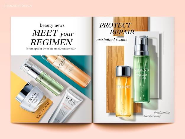 Modello di rivista cosmetica, vista dall'alto di prodotti per la cura della pelle isolati su sfondo geometrico in illustrazione 3d