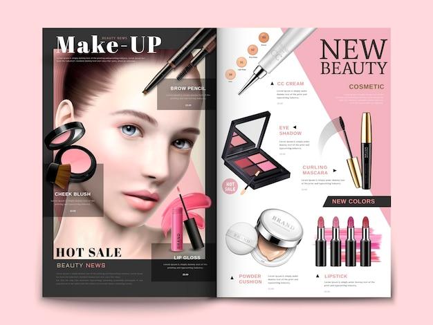 Modello di rivista cosmetica, prodotti cosmetici alla moda con ritratto di modello in illustrazione 3d, brochure di una rivista o di un catalogo