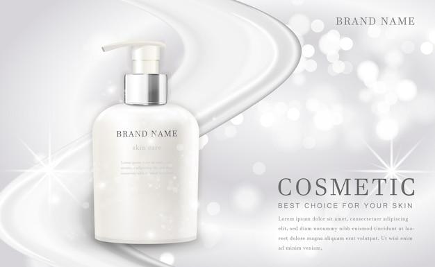 Cosmetici compongono la bottiglia del prodotto illustrazione con elegante sfondo bianco lucido