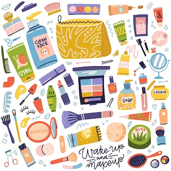 Collezione di cosmetici e trucco. set di tubetto di crema, rossetto, smalto, mascara, ombretti, pennello. roba da donna, accessorio per ragazze. prodotti per la cura del viso e della pelle. illustrazione disegnata a mano delle icone piane